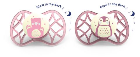 Fyziologické dudlíky Explorer 0m+ 2ks svítící ve tmě, Female